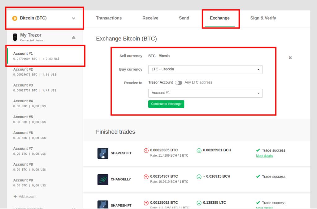 Exchange integratie in Trezor wallet