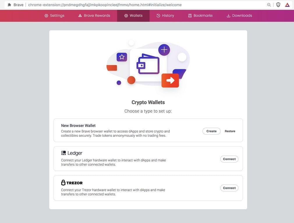 Brave Browser met Ledger en Trezor